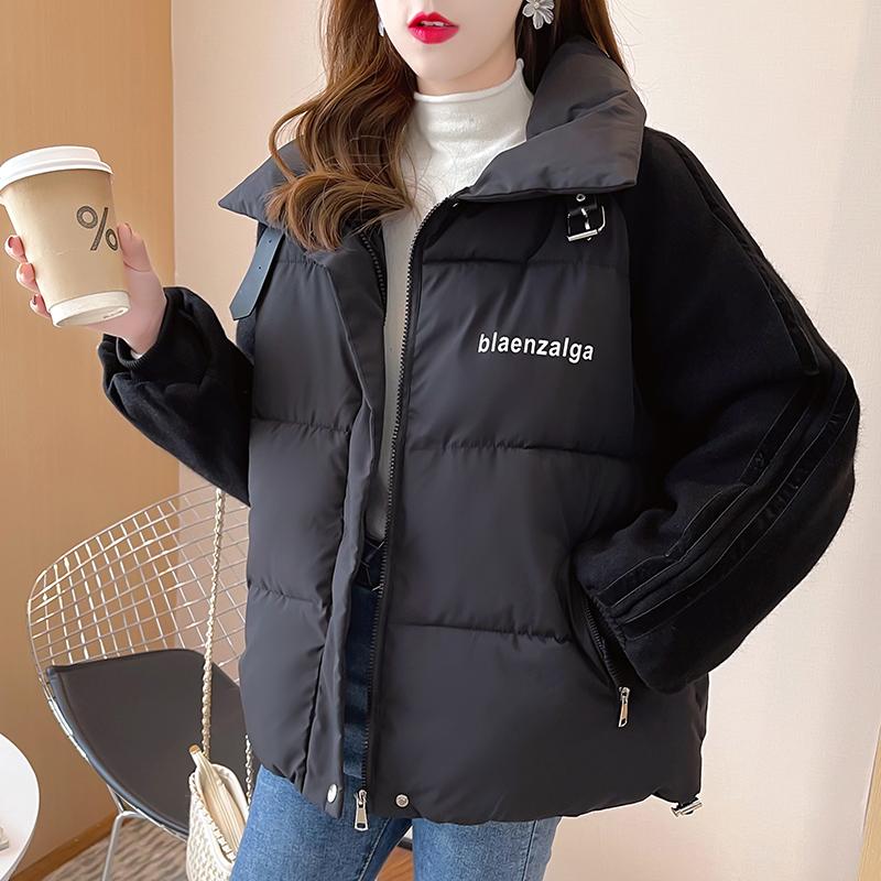 M010#實拍實價 加厚保暖棉服2021冬裝寬松棉衣立領保拉鏈長袖外套