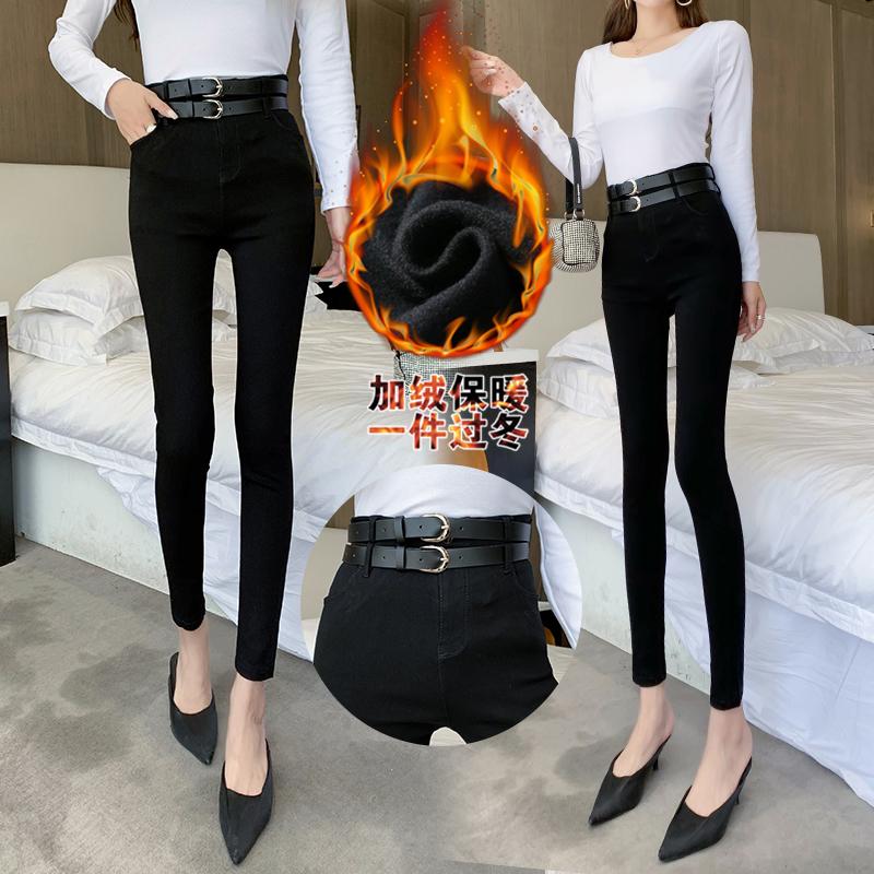 實拍冬款黑色打底褲外穿高腰韓版顯瘦小腳褲加絨加厚長褲