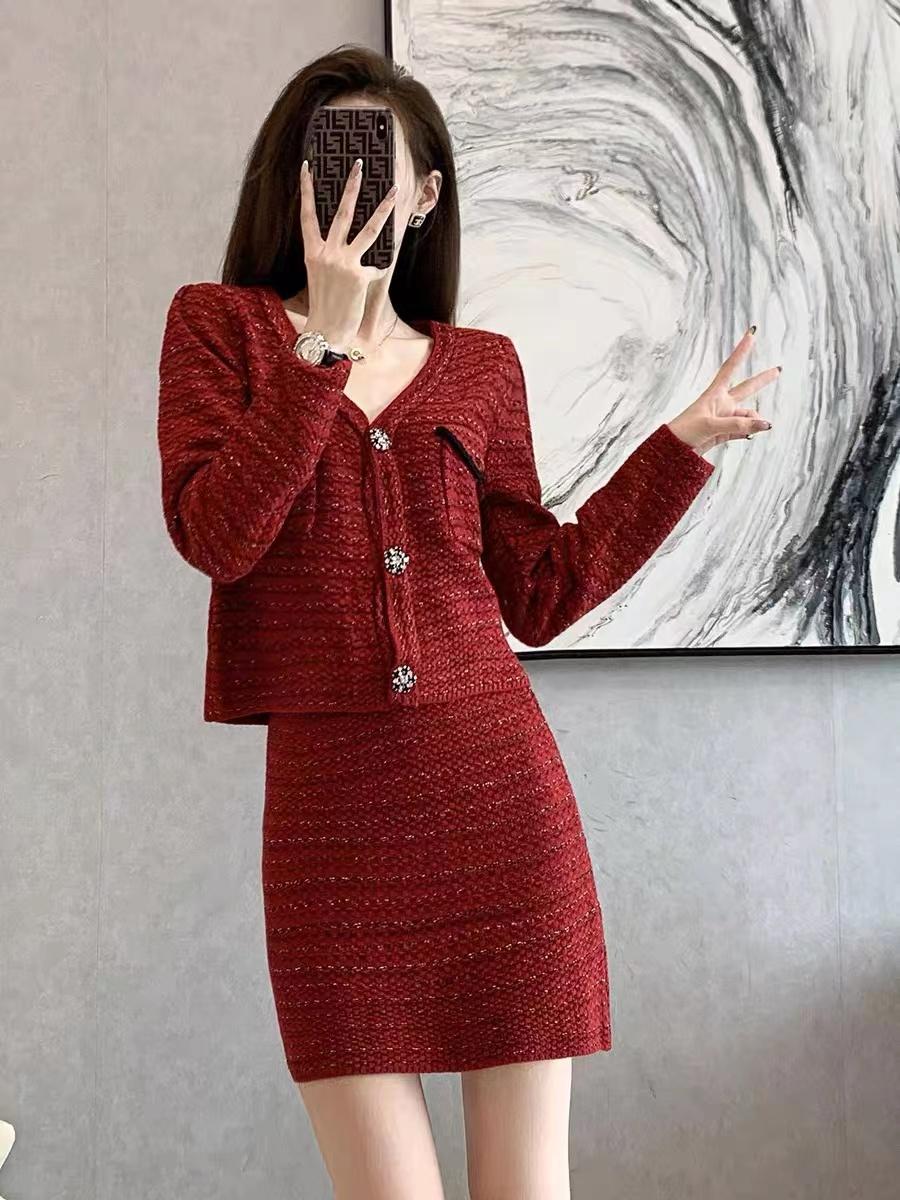 紅色小香風氣質套裝2021年秋冬新款高端名媛風法式針織裙兩件套女