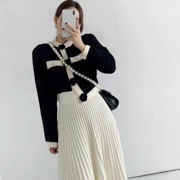 2021新款小香風時尚針織套裝裙韓版復古氣質洋氣開衫百褶裙兩件套