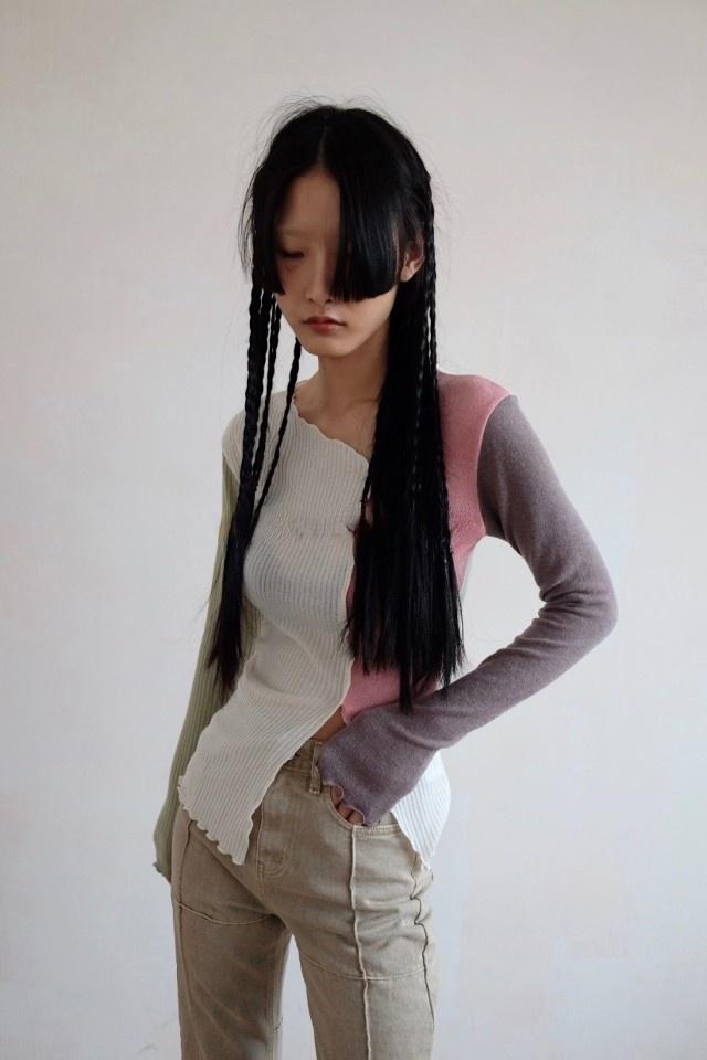 Unique SEI Jennie金珍妮同款多色不規則拼接修身顯瘦針織衫上衣