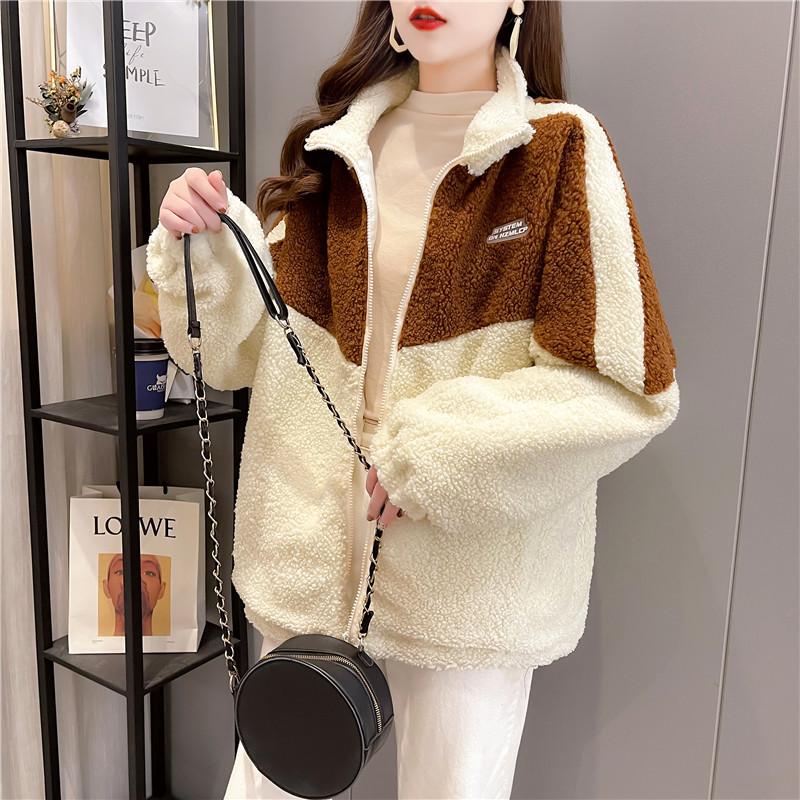 实拍炸街360克羊羔绒刺绣卫衣女冬连帽加绒加厚大码女装网红同款