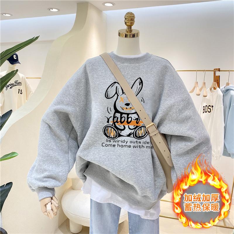 A3173#官图实价 加绒加厚2021冬装卡通兔子印花长袖卫衣女