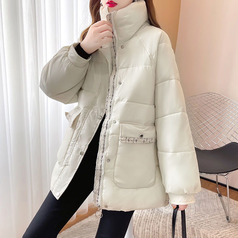 M014#实拍实价 加厚保暖棉服2021冬装宽松棉衣纯色拉链长袖外套