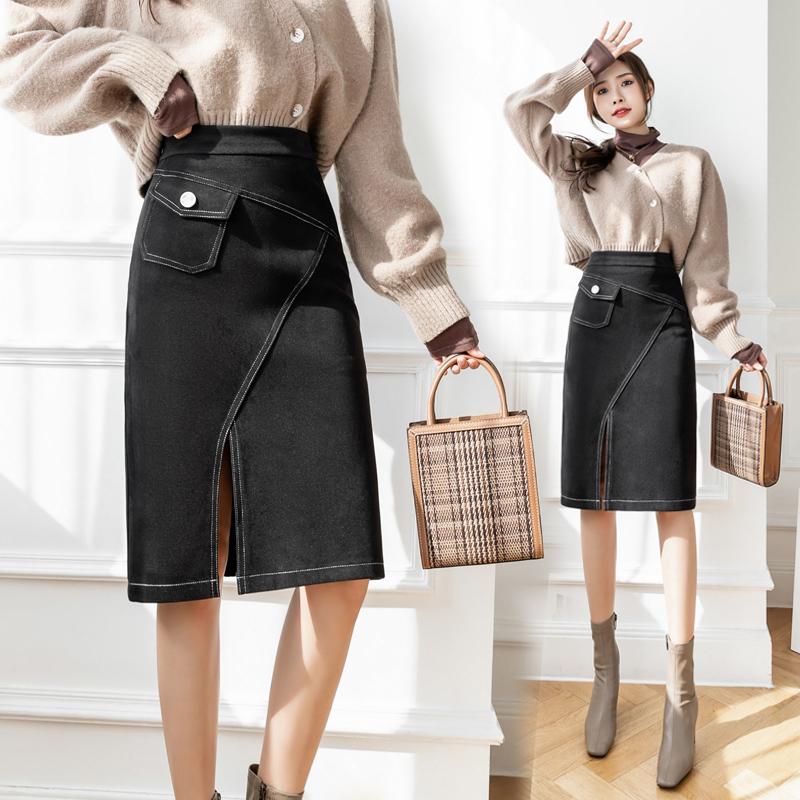 明线口袋高腰开叉包臀半身裙女2021冬季新款职业中长款一步a字裙
