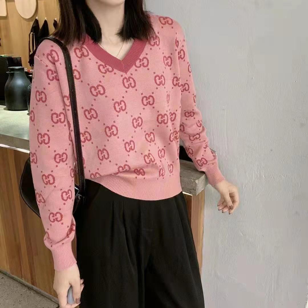 粉色字母提花V領套頭針織衫長袖女韓版寬松洋氣毛衣打底衫秋季潮