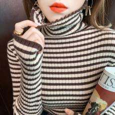 高领毛衣女秋冬新款撞色堆堆领针织衫长袖百搭条纹打底衫内搭上衣