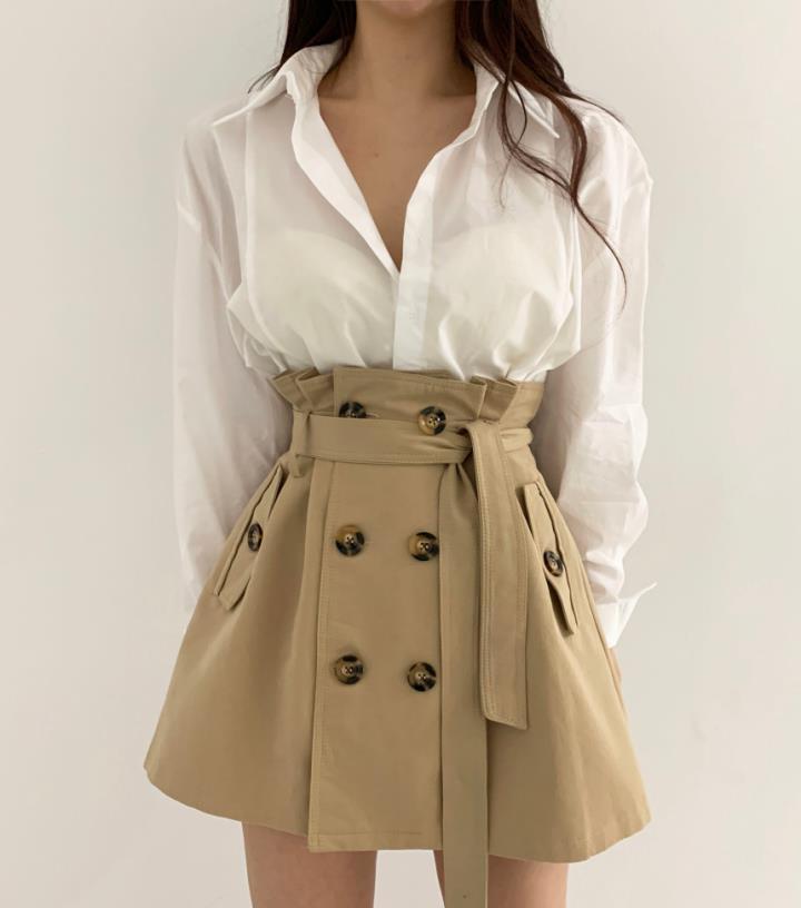 韩国chic小众法式翻领纯色长袖衬衫+高腰双排扣A字型半身裙短裙女