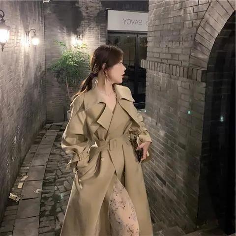 秋季高端卡其色風衣女2021新款收腰長款過膝英倫風休閑外套