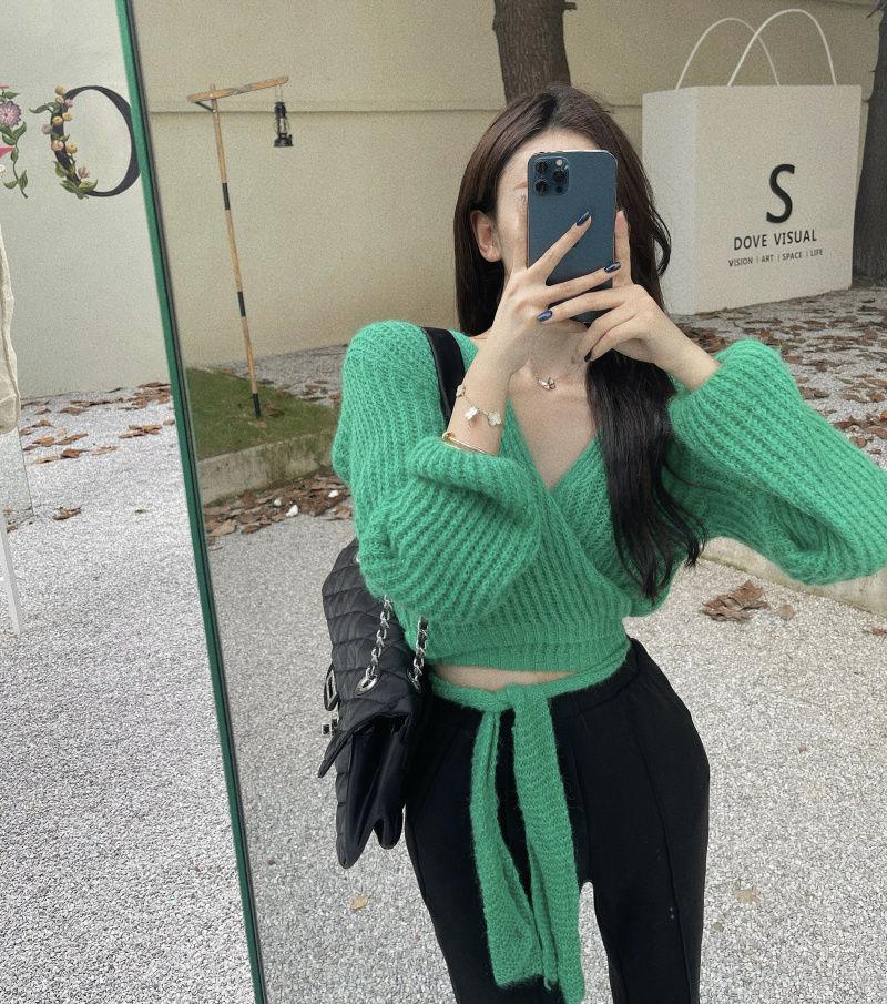 毛衣女短款V領修身收腰系帶不規則套頭外套秋季2021新款針織上衣