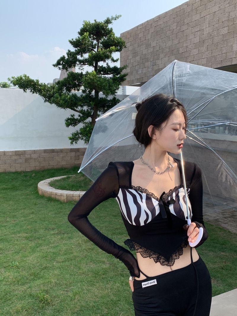 性感黑色网纱长袖蕾丝衫女秋款洋气小衫减龄黑色t恤修身短款上衣