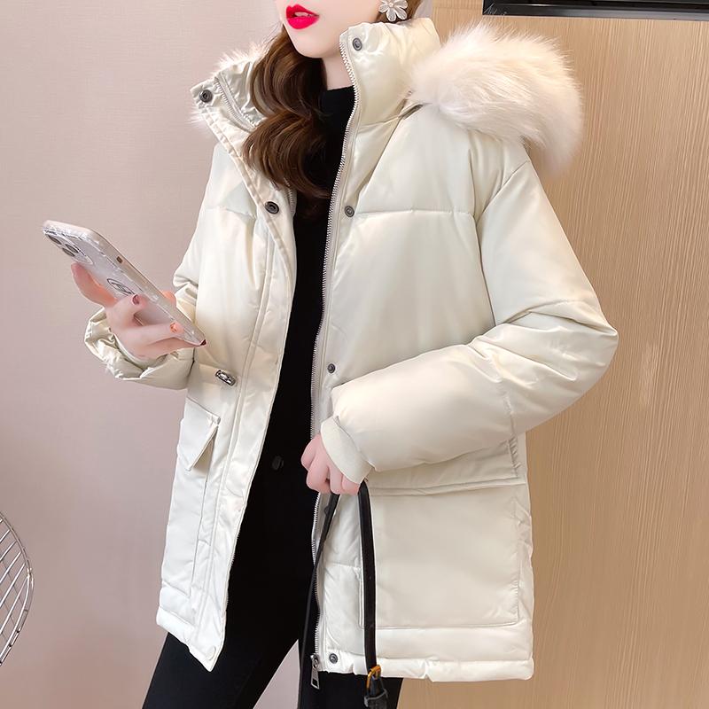 M019#实拍实价 加厚保暖棉服2021冬装宽松棉衣连帽纯色长袖外套
