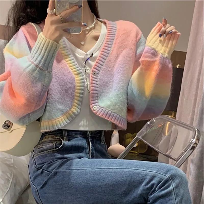 小香风彩虹撞色坎肩短款针织开衫长袖修身纽扣毛衣外套上衣女秋季