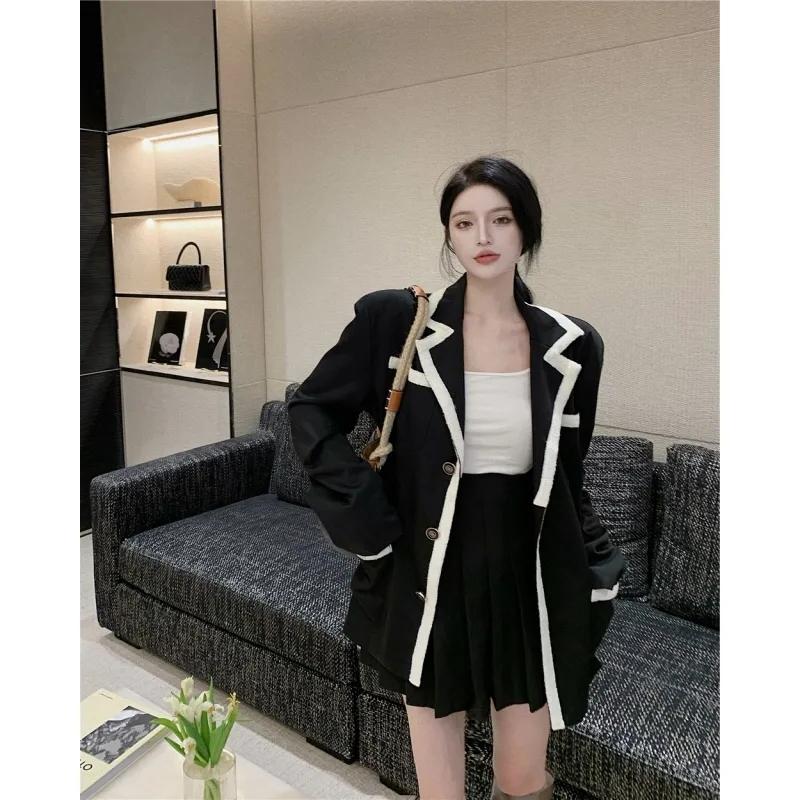 秋季小香风撞色单排扣西装领长袖宽松中长款黑色西服外套上衣女装