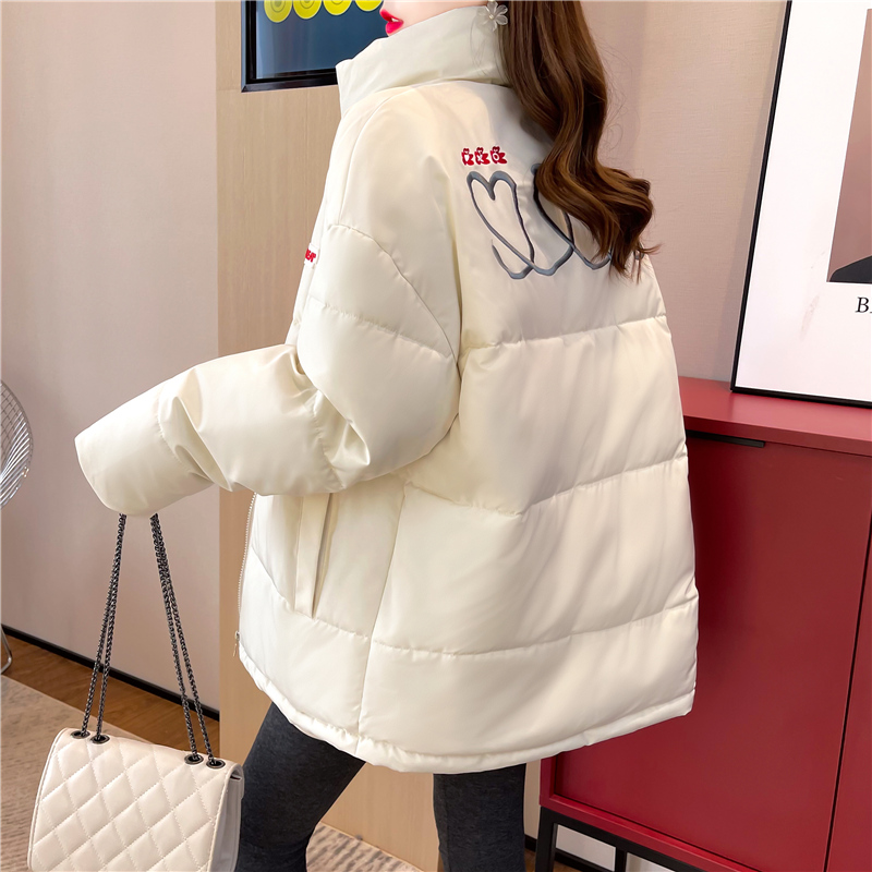 M022#实拍实价 加绒加厚棉服2021冬装宽松棉衣立领防风保暖外套