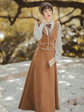 原创2021年秋冬新款 狗牙工艺绣花马甲半身裙套装+尖领衬衣