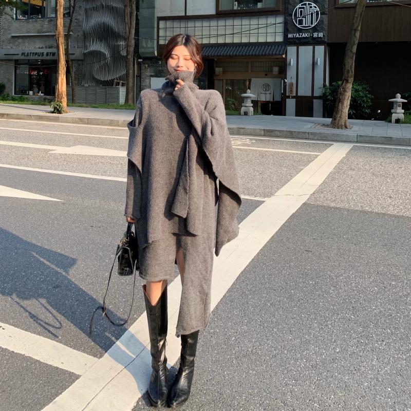 實拍實價 時髦針織套裝高領肩2021新款背心不規則毛衣連衣裙套裝