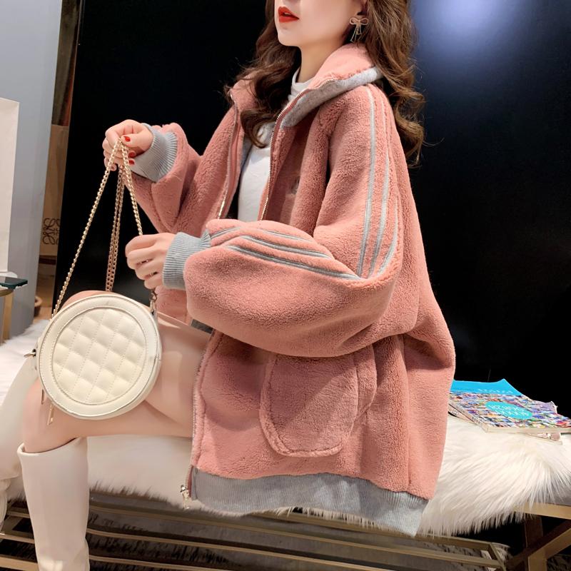 炸街360克羊羔絨刺繡衛衣女冬連帽加絨加厚大碼女裝網紅同款