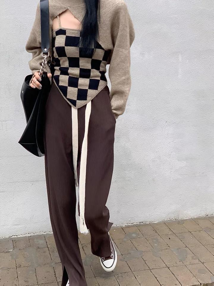 爆款針織衫新款不規則設計感外套罩衫內搭吊帶上衣兩件套潮