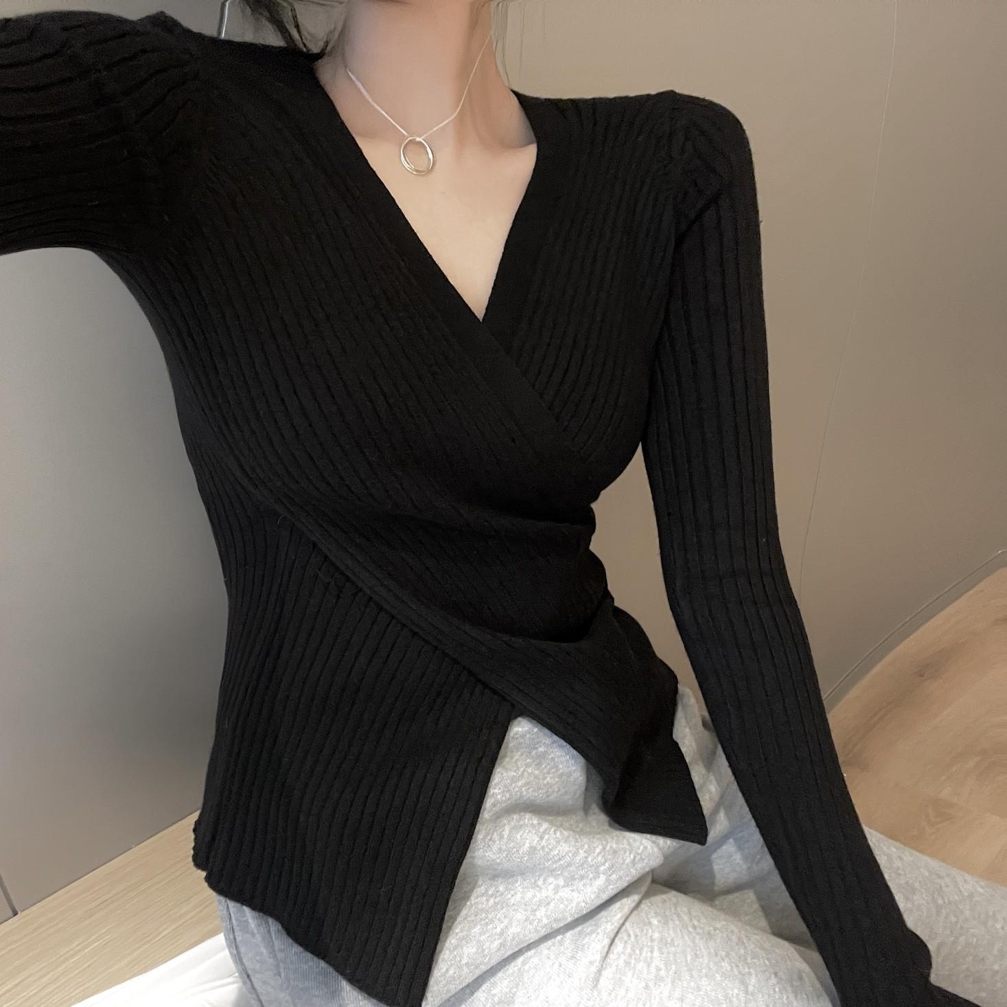 設計感上衣新款韓版洋氣百搭交叉V領針織衫時尚修身長袖