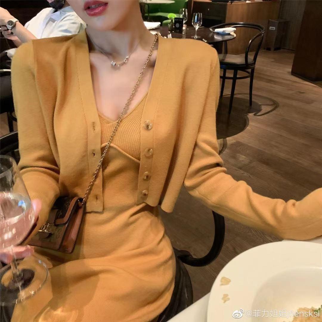 新款針織套裝女V領短款開衫外套露臍吊帶背心一步長裙#8087