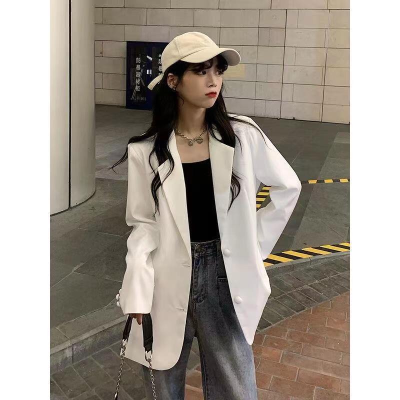秋季韓版2021新款寬松中長款白色薄款垂感小個子長袖西裝外套女裝