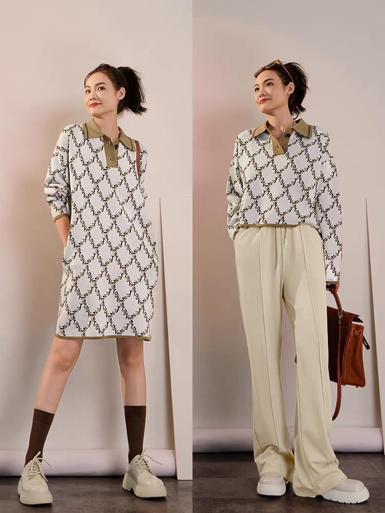 美洋MEIYANG 圣圖安復古毛衣系列Polo領短裙直筒針織連衣裙春秋女
