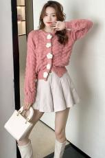 实价软奶蓝毛衣外套开衫女2021春秋新款宽松设计感小众日系可爱