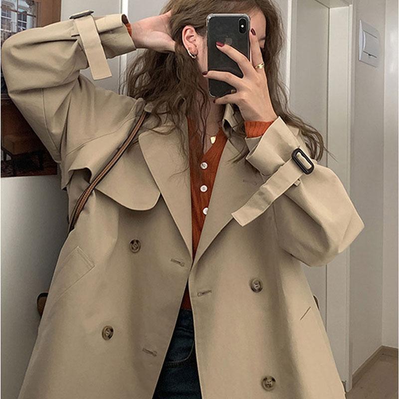 2021年早春秋季新款風衣外套女大衣短款小個子英倫風氣質今年流行