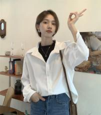 实拍实价 韩版灯芯绒假两件衬衫复古套头上衣