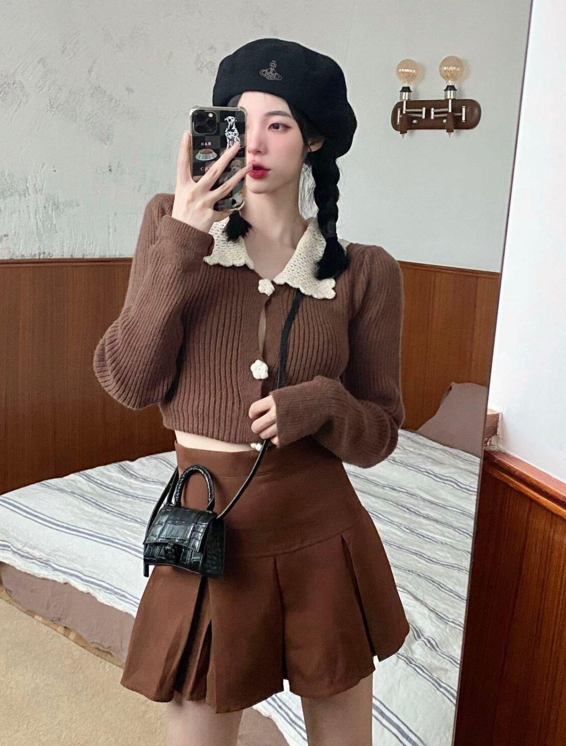 2021秋季新款顯瘦休閑時尚套裝女娃娃領開衫毛衣百褶半身裙兩件套