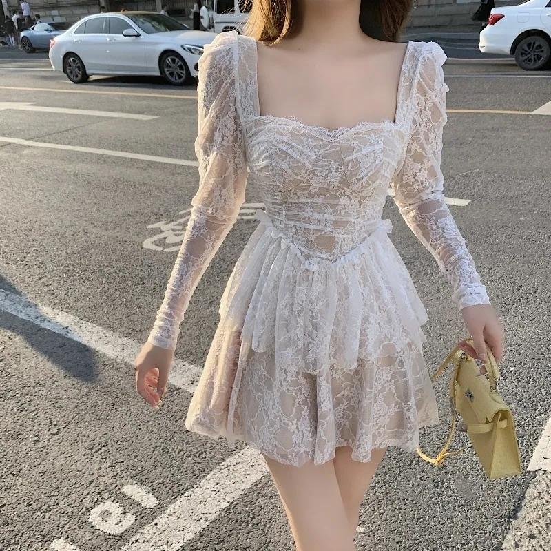 法式茶歇蕾絲連衣裙女裝秋季2021年新款短裙初戀甜美氣質長袖裙子
