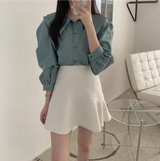 韩版 简约双层领子长袖衬衫+荷叶边半身短裙 套装可拆