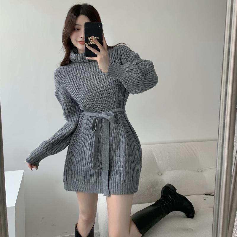 實拍實價 韓國高領寬松毛衣連衣裙