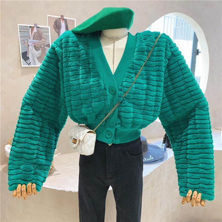 秋冬新款韓版長袖V領短款毛絨開衫外套女百搭顯瘦時尚上衣